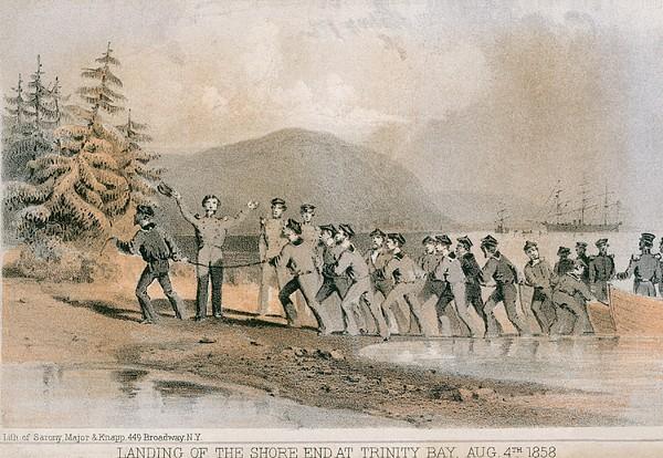 Landing Of The First Atlantic Telegraph Print by Everett