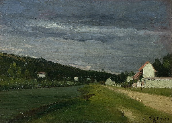 Landscape With Stormy Sky Print by Camille Pissarro