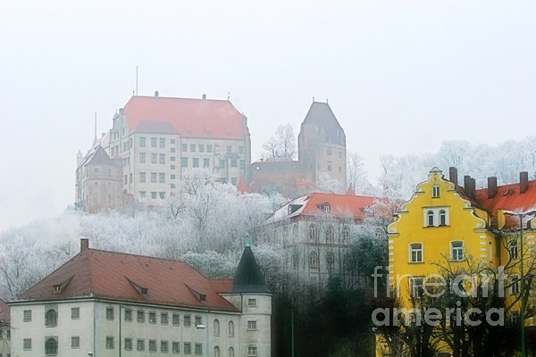 Landshut Bavaria On A Foggy Day Print by Christine Till