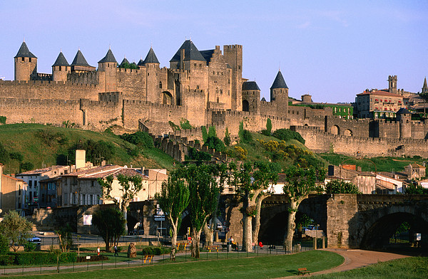 Languedoc Roussillon Carcassonne La Cite, 12th Century Castle, Carcassonne, Languedoc-roussillon, France, Europe Print by John Elk III