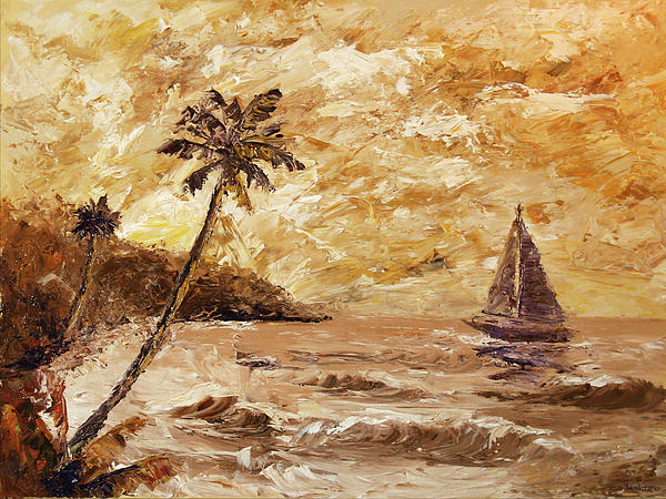 Large Sailboat On The Hawaiian Coast Oil Painting  Print by Mark Webster