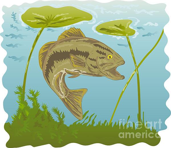 Largemouth Bass Jumping Print by Aloysius Patrimonio