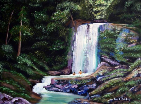 Las Marias Puerto Rico Waterfall Painting  - Las Marias Puerto Rico Waterfall Fine Art Print