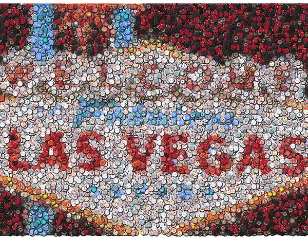 Las Vegas Sign Poker Chip Mosaic Print by Paul Van Scott