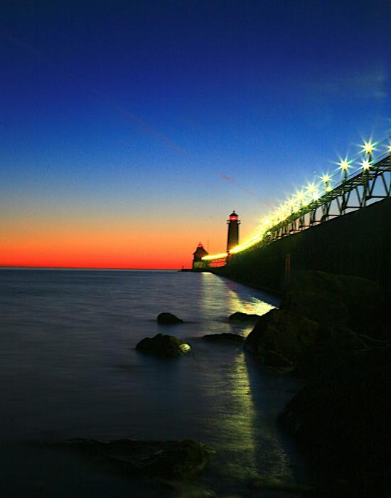 Last Light Grand Haven Michigan Print by Robert Pearson