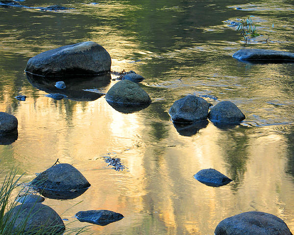 Late Afternoon Reflections In Merced River In Yosemite Valley Print by Greg Matchick