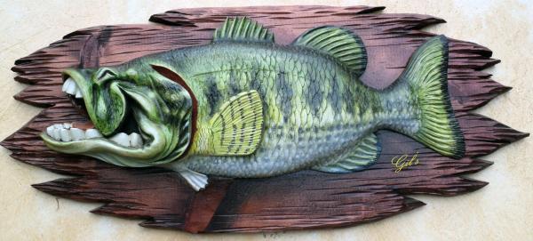 Laughing Lagemouth Bass Sculpture