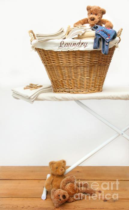 Laundry Basket With Teddy Bears On Floor Print by Sandra Cunningham
