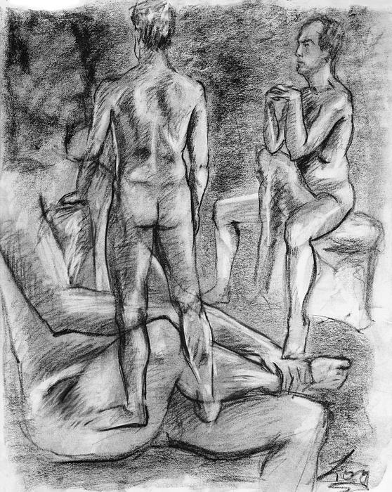 Layered Man Figure Study Print by Adam Long