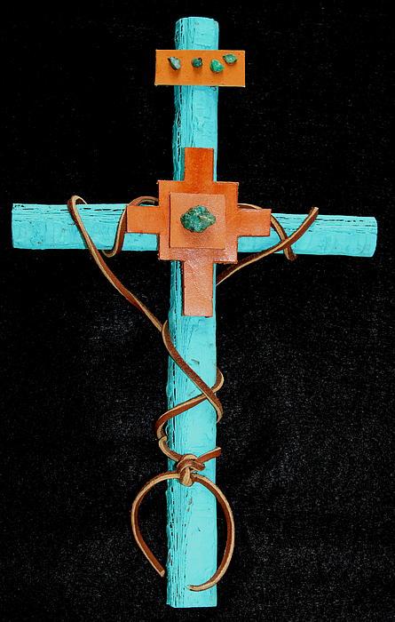 M Diane Bonaparte - Leather and Stone Cross