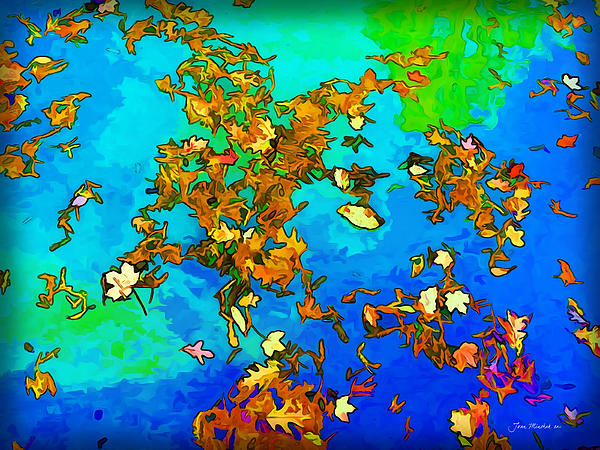 Joan  Minchak - Leaves in a Pond