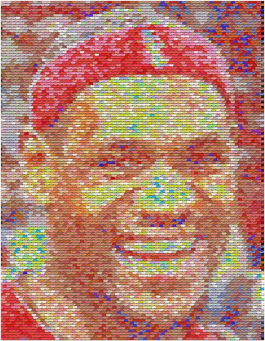 Lebron James Pez Candy Mosaic Print by Paul Van Scott