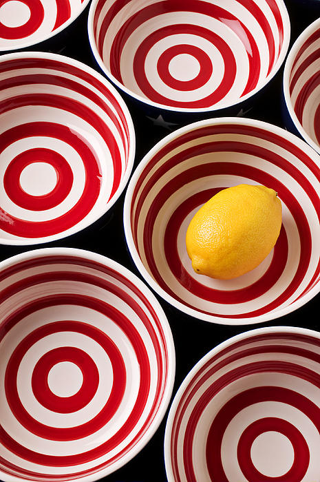 Lemon In Red And White Bowl  Print by Garry Gay