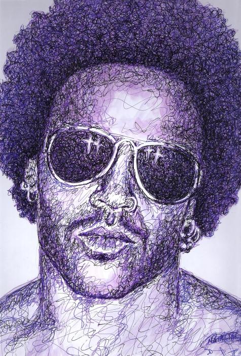 Lenny Kravitz Print by Maria Arango