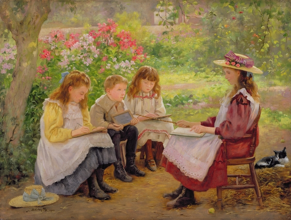 Lesson In The Garden Print by Ada Shirley Fox