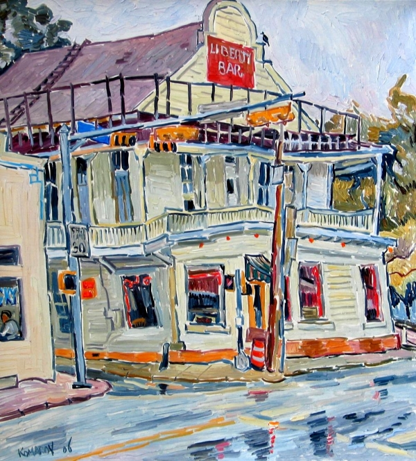Liberty Bar In San Antonio. Rainy Day. Print by Vitali Komarov