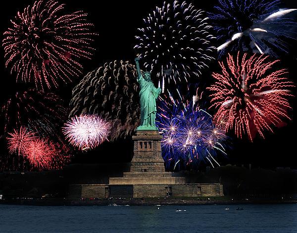 Liberty Fireworks 1 Print by BuffaloWorks Photography