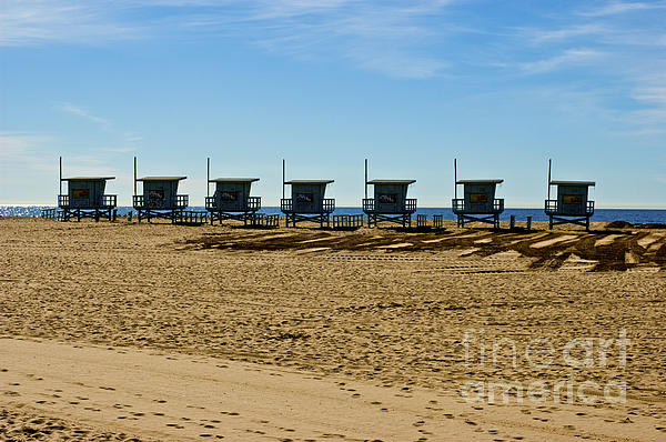 Lifeguard Stand's On The Beach Print by Micah May