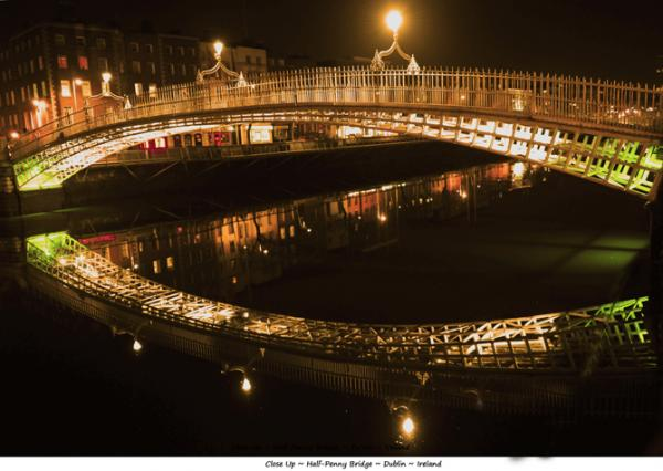 Liffey Bridge at Night Dublin