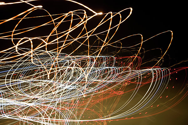 Light Trails At Night Print by Frederick Bass