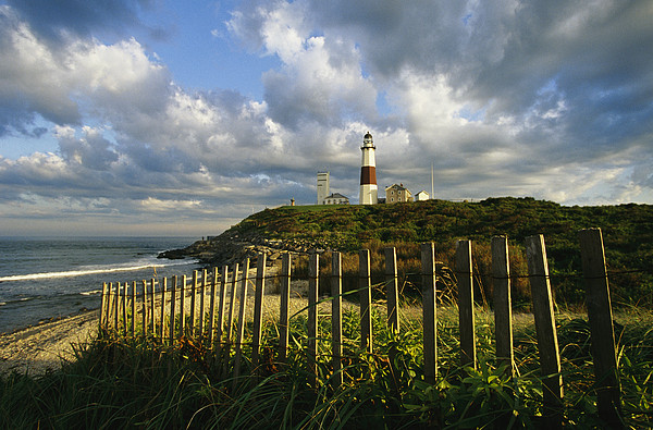 Lighthouse At Montauk With Dramatic Sky Print by Skip Brown