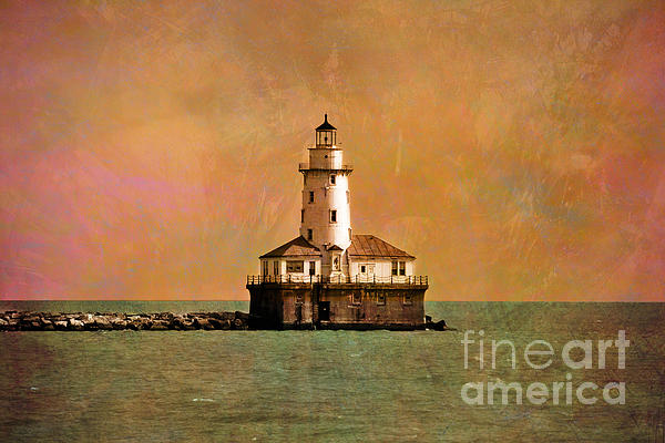 Lighthouse Off Navy Pier Print by Mary Machare