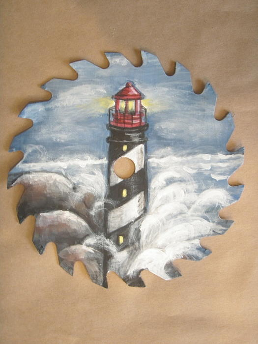 Linda Nielsen - Lighthouse painted on sawblade