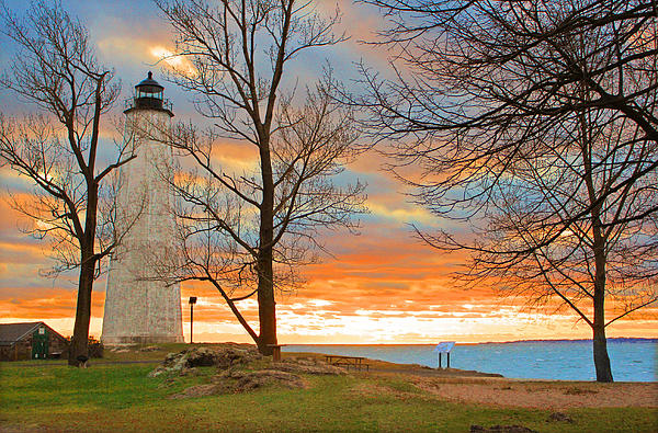 Lighthouse Sunset Print by Cathy Leite