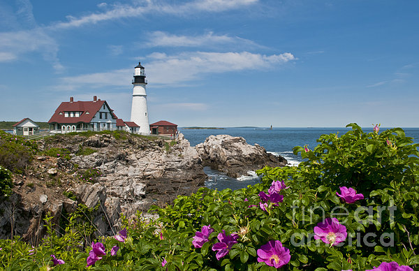 Lighthouse With Rocks On Shore Print by Bill Bachmann and Photo Researchers