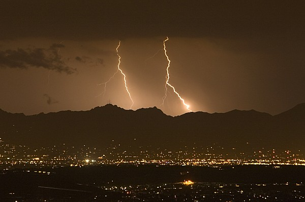 Lightning Bolt Strikes Out Of A Typical Print by Mike Theiss
