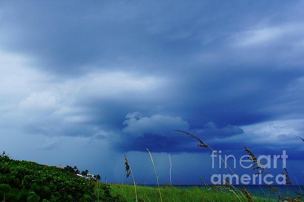 Lightning Off Shore Print by Lynda Dawson-Youngclaus