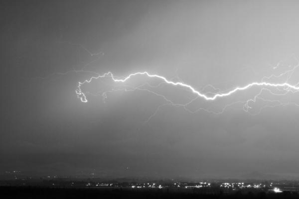 Lightning Over North Boulder Colorado  Ibm Bw Print by James BO  Insogna