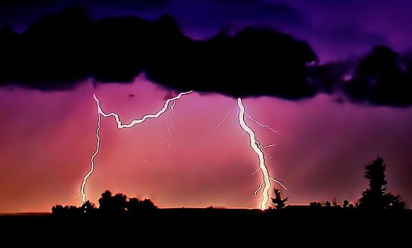Lightning Over The Plains II Print by Ellen Heaverlo