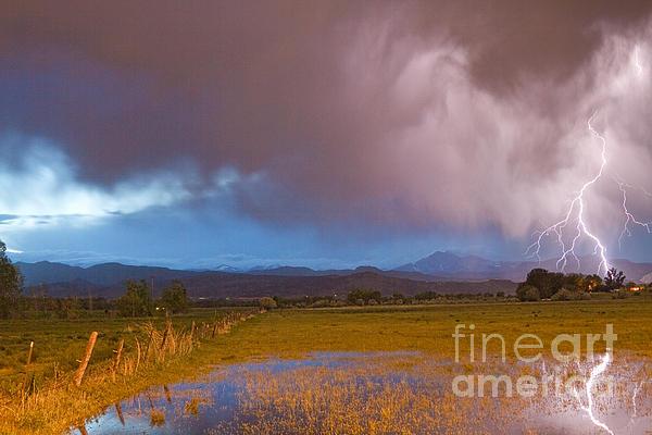 Lightning Striking Longs Peak Foothills 7 Print by James BO  Insogna