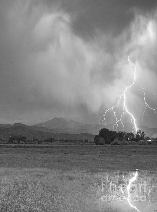 Lightning Striking Longs Peak Foothills 7cbw Print by James BO  Insogna