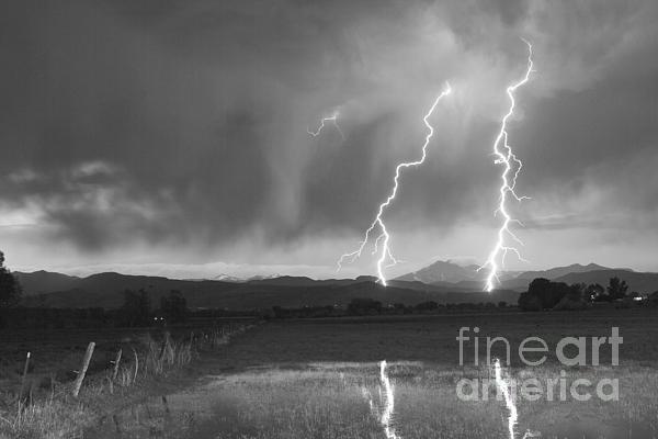 Lightning Striking Longs Peak Foothills Bw Print by James BO  Insogna