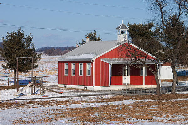 Lil Red School House Print by Robert Sander