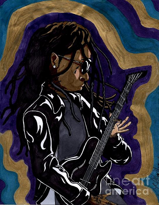 Lil Wayne And His Guitar Print by Matthew Fields