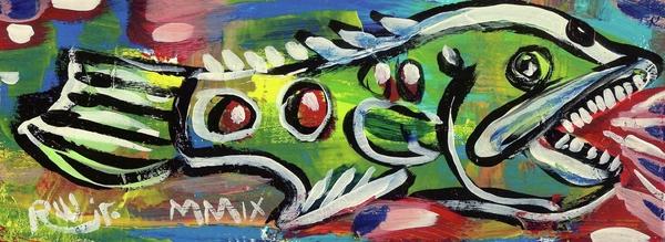 Lil'funky Folk Fish Number Thirteen Print by Robert Wolverton Jr