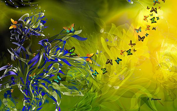 Elizabeth Giupponi - Lilies And Butterflies