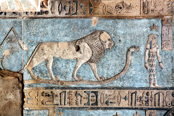 Lion At Dendera, Egypt Print by Joe & Clair Carnegie / Libyan Soup