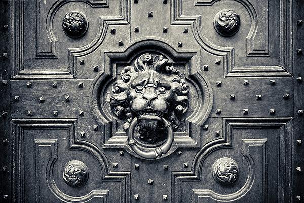 Lion Head Door Knocker Print by Adam Romanowicz