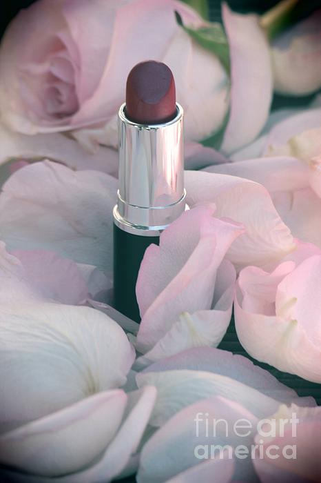 Lipstick And Roses Print by Sophie Vigneault