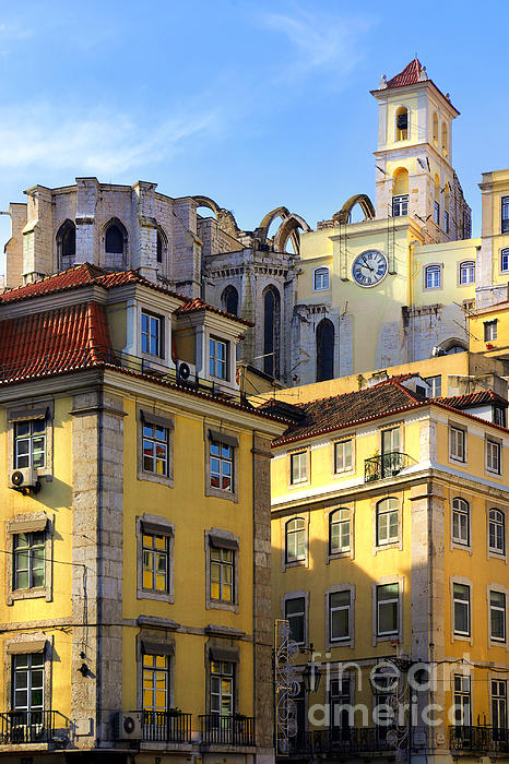 Lisbon Buildings Print by Carlos Caetano
