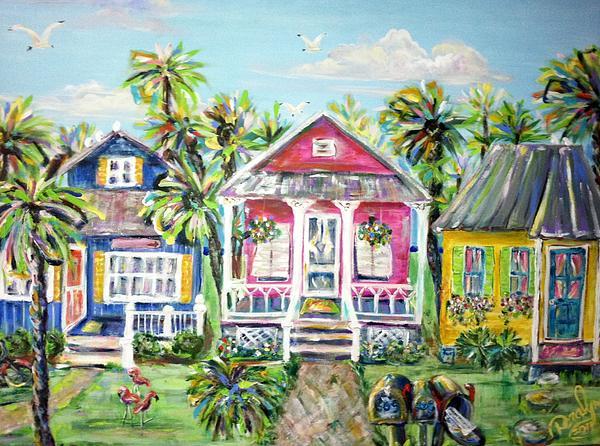 Little Beach Houses Print by Doralynn Lowe