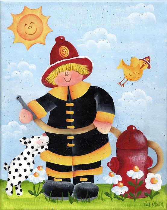 Little Fireman Print by Pat Olson