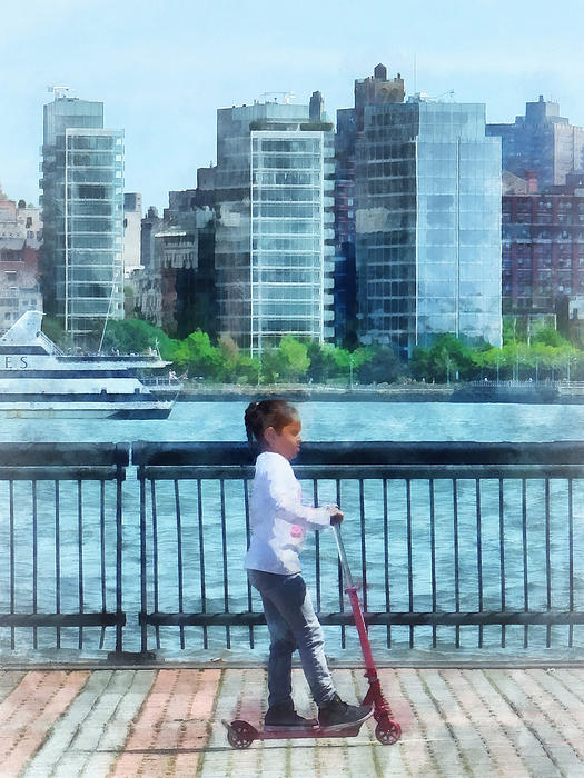 Little Girl On Scooter By Manhattan Skyline Print by Susan Savad