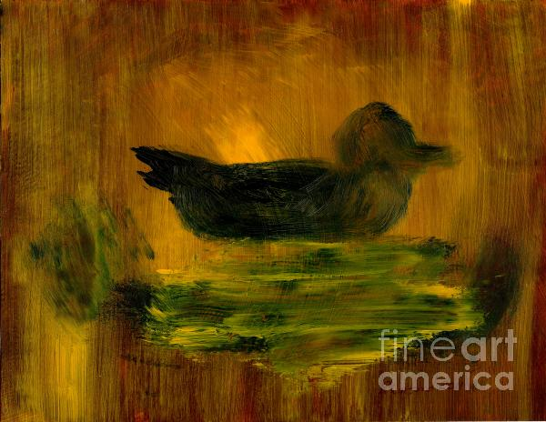 Little Green Mallard Sitting In The Water 4 Print by Richard W Linford
