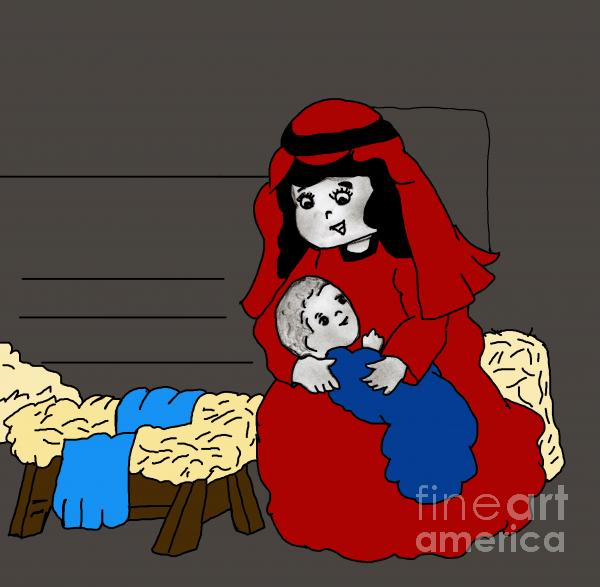 Little Mary And Baby Jesus In Red And Blue Digital Art  - Little Mary And Baby Jesus In Red And Blue Fine Art Print