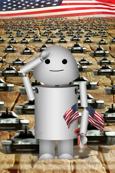 Little Robo-x9 Says Tanks Alot Print by Gravityx Designs